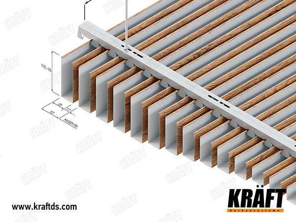 Installation diagram of a suspended ceiling made of a KRAFT cube rail