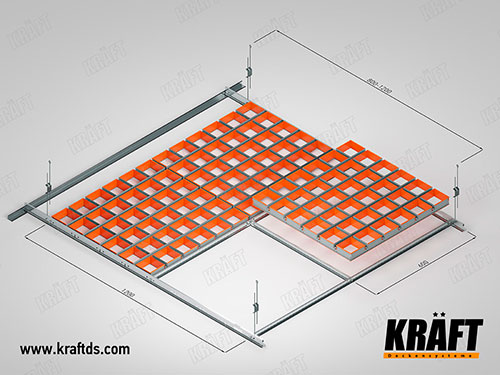 Self-assembly of suspended ceiling cassette grilyato KRAFT