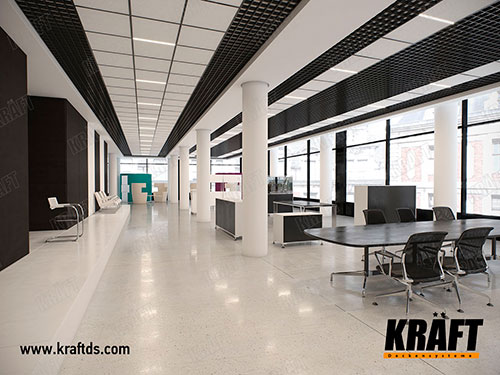 Suspended ceilings KRAFT in the interior: T-profile and grilyato GLK