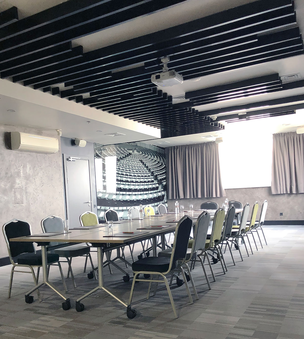KRAFT Designer Rack False Ceiling, T-Profile Ceiling with KRAFT T-Led Lights at the Hotel