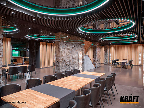 Multilevel design suspended ceiling made of KRAFT plate-like rail (screen ceiling) in the interior of a restaurant, cafe, bar
