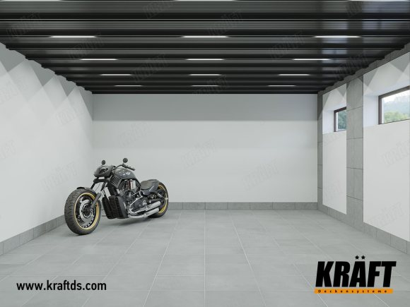 Garage in a private house (modular grilyato GLK, ceiling rail, KRAFT Led lamps)