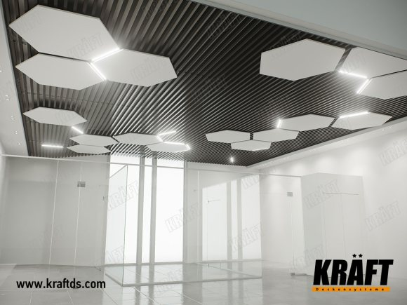 "Showroom in the shopping center ""Domosfera"" (ceiling rail, KRAFT Led lamps)"