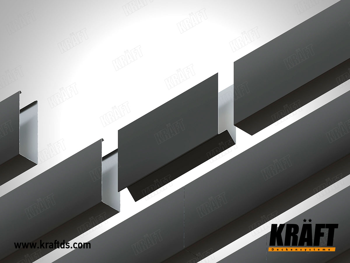 To give rigidity and solidity to the slatted ceiling, special connectors for slats are used