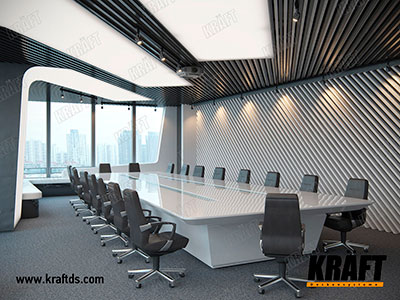 False ceiling based on the KRAFT cubic rail located on the walls and ceiling at an angle of 45 degrees