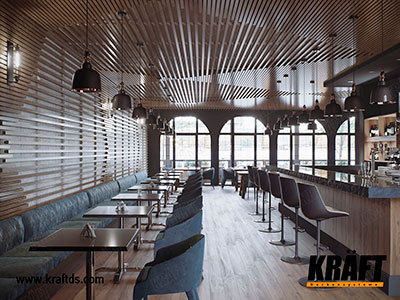 Design suspended ceiling from a cube-shaped KRAFT rail in a cafe, restaurant, bar
