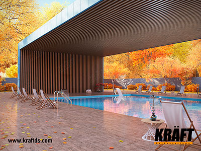 False ceiling from a cube-shaped KRAFT rail on the wall and ceiling. Decorative canopy for outdoor swimming pool
