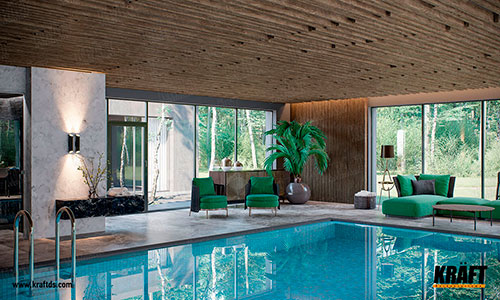False decorative ceiling from a cube-shaped KRAFT rail in a swimming pool in a private house