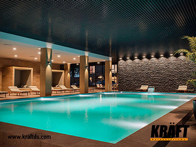 Kraft cassette suspended ceiling in the interior of the pool in a private house