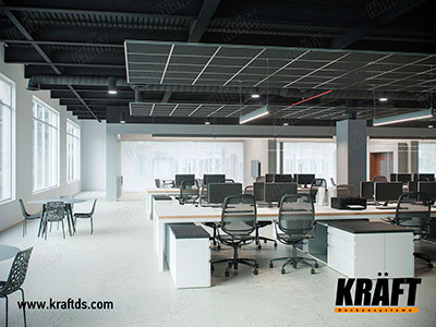 Acoustic suspended ceiling based on KRAFT Fortis profile and wood fiber boards