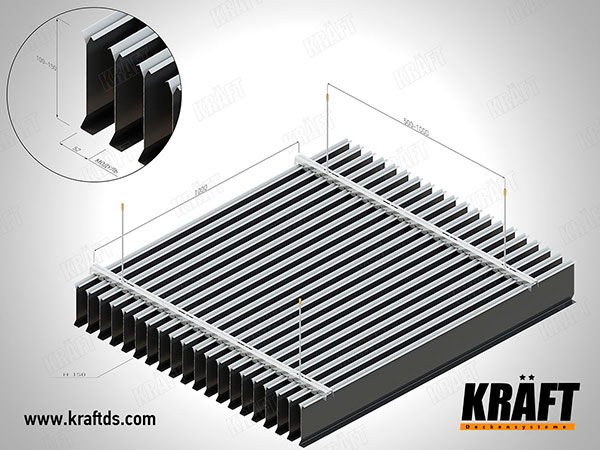 Installation diagram of a screen ceiling made of a KRAFT plate rail