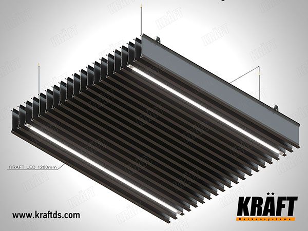 Lamellar screen ceiling with KRAFT Led lighting system