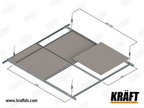 Installation diagram of a suspended ceiling made of a KRAFT T-profile