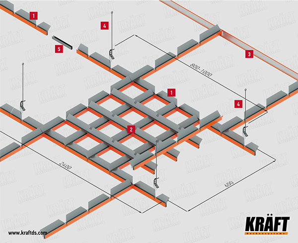 Installation procedure and complete set of KRAFT pyramidal grilyato false ceiling